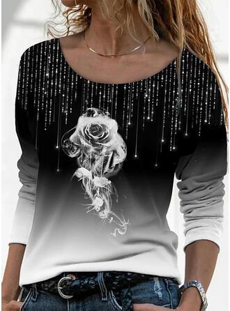 Kwiatowy Gradient Nadruk Okrągły dekolt Długie rękawy T-shirty