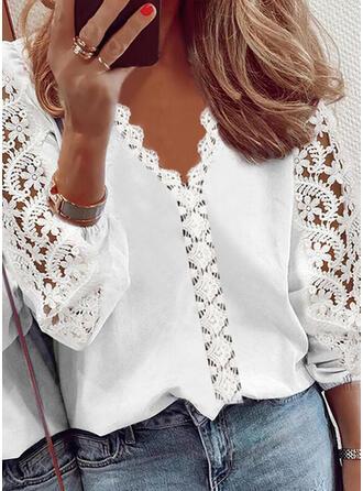 Jednolity Koronka Dekolt w kształcie litery V Rękawy 3/4 shim sleeve Elegancki Bluzki