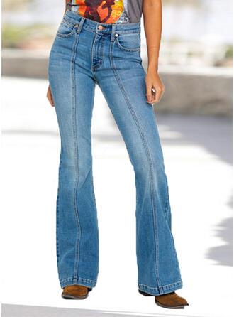 Niejednolita całość Marszczona Duży rozmiar Długo Elegancki Seksowny Dżinsy