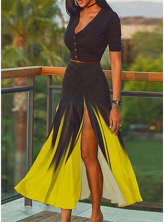 Blok Koloru Elegancki Duży rozmiar Seksowny bluzka & Stroje dwuczęściowe zestaw