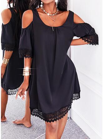 Jednolity Koronka Rękawy 1/2 cold ramion rękaw Suknie shift Długośc do kolan Mała czarna/Nieformalny Tunika Sukienki