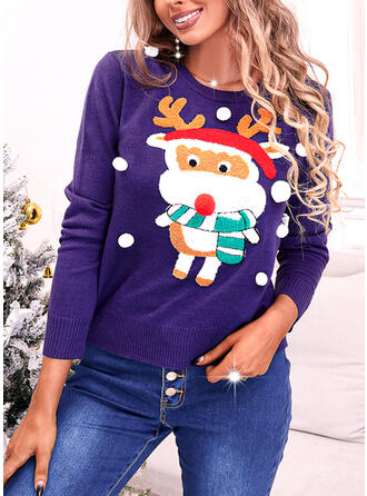 Boże Narodzenie Nadruk Renifer Okrągły dekolt Nieformalny Swetry