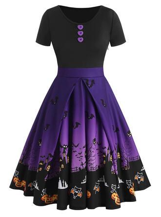Wyszczuplająca/Nadruk zwierzęcy Krótkie rękawy W kształcie litery A Długośc do kolan Przyjęcie/Halloween Łyżwiaż Sukienki