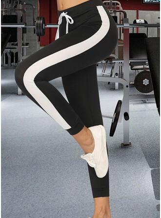 Niejednolita całość Marszczona Sznurek do ściągacza Przycięte Nieformalny sportieve Joga Spodnie