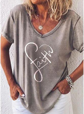 Nadruk Serce Wytłaczany Dekolt w kształcie litery V Krótkie rękawy Casual T-shirty