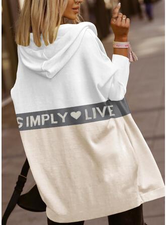 Nadruk Blok Koloru Serce Wytłaczany Długie rękawy Bluza z kapturem