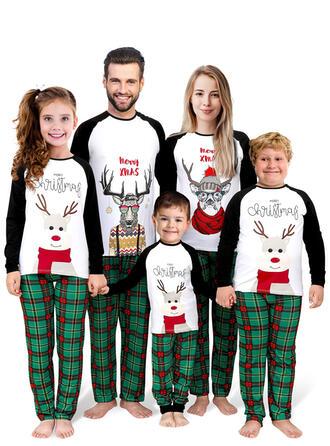 Renifer Kolor-Block Kratę List Rodzinne Dopasowanie Świąteczne piżamy