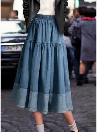 Denim Patchwork Maxi A-Line Skirts