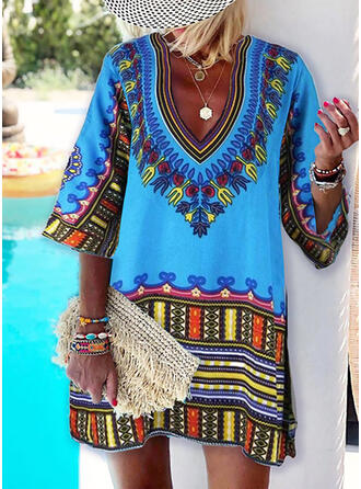 Print 1/2 Sleeves Shift Above Knee Boho/Vacation Tunic Dresses