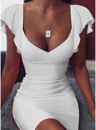 Jednolita Krótkie rękawy Bodycon Nad kolana Seksowna/Casual Sukienki