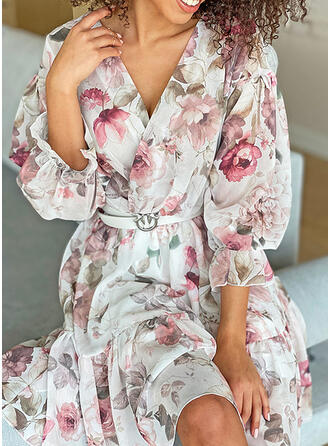 Print/Floral 3/4 Sleeves/Puff Sleeves A-line Knee Length Casual Skater Dresses