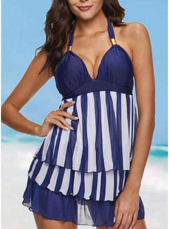 Stripe Strap V-Neck Elegant Casual Exquisite Swimdresses Swimsuits