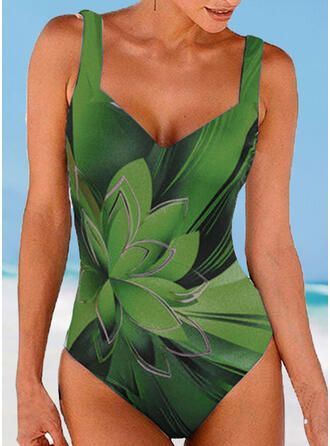 Floral Strap V-Neck Vintage Casual One-piece Swimsuits