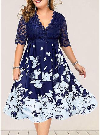 Koronka/Nadrukowana/Kwiatowy Rękawy 1/2 W kształcie litery A Casual/Elegancki Midi Sukienki