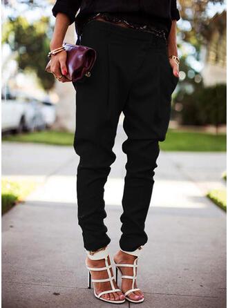 Jednolity Długo Nieformalny Duży rozmiar Pocket shirred Spodnie