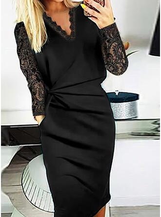 Jednolity Koronka Długie rękawy Bodycon Długośc do kolan Mała czarna/Elegancki Ołówkowa Sukienki