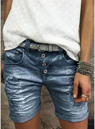 Jednolity Nad kolanem Nieformalny Zabytkowe Duży rozmiar Pocket shirred Ripped Przycisk Spodnie Szorty Dżinsy