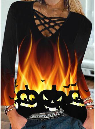 Halloween Nadruk Zwierzę Dekolt w kształcie litery V Długie rękawy Nieformalny Bluzki