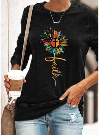 Nadruk Kwiatowy Wytłaczany Okrągły dekolt Długie rękawy Bluza