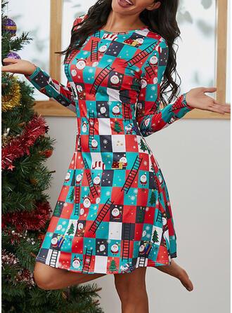 Nadrukowana Długie rękawy W kształcie litery A Długośc do kolan Boże Narodzenie/Casual Łyżwiaż Sukienki