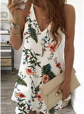 Print/Floral Sleeveless Shift Above Knee Elegant Slip Dresses