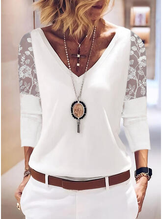 Jednolity Szyfon Koronka Dekolt w kształcie litery V Rękawy 3/4 Elegancki Bluzki