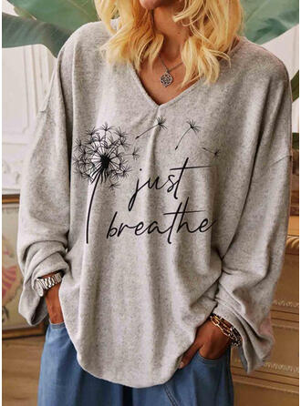 Print Figure Dandelion V-Neck Long Sleeves Casual T-shirts