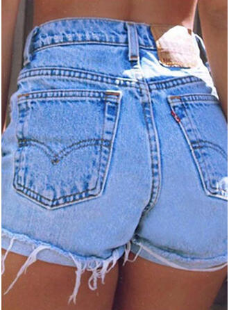 Pockets Tassel Solid Denim Shorts