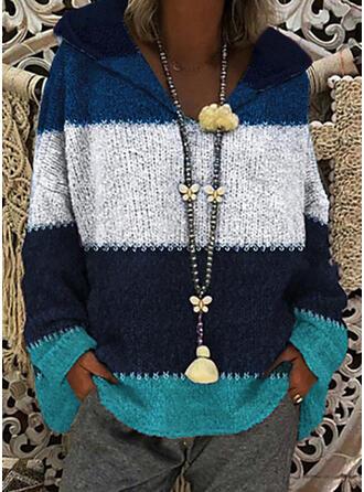 Blok Kolorów Masywna dzianina Bluza z kapturem Casual Swetry
