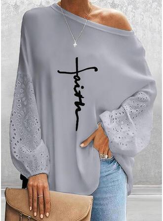 Nadruk Wytłaczany Na jedno ramię Długie rękawy Dropped Shoulder Nieformalny Bluzki