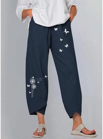 Nadruk Mlecz butterfly Bielizna Bawełna Przycięte Nieformalny Zabytkowe Duży rozmiar Spodnie Spodnie Lounge