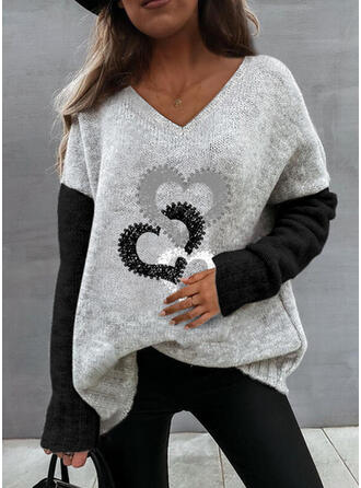 Nadruk Blok Koloru Serce Dekolt w kształcie litery V Nieformalny Swetry