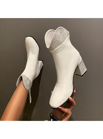 Dla kobiet PU Obcas Slupek Kozaki Z Stras/ Krysztal Górski Jednolity kolor obuwie