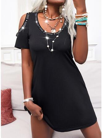 Jednolity Krótkie rękawy cold ramion rękaw Sukienka Trapezowa Długośc do kolan Mała czarna/Nieformalny Łyżwiaż Sukienki