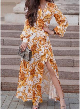 Kwiatowy/Nadruk zwierzęcy Długie rękawy W kształcie litery A Okrycie/Łyżwiaż Wintage Maxi Sukienki