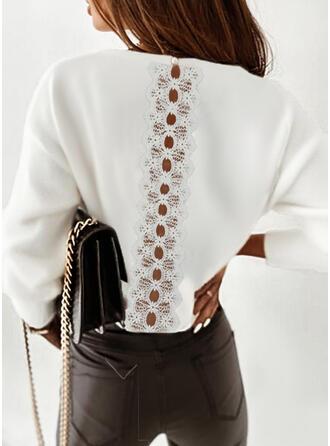 Jednolity Koronka Okrągły dekolt Długie rękawy Dropped Shoulder Elegancki Bluzki