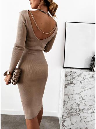 Jednolita Długie rękawy Bodycon Długośc do kolan Mała czarna/Seksowna Sweter Sukienki
