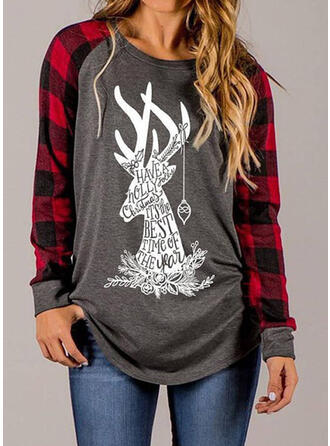 Zwierzęcy Figura Okrągły dekolt Długie rękawy Casual Boże Narodzenie T-shirty