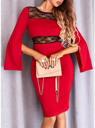 Blok Koloru Koronka Długie rękawy Slit Sleeves Pokrowiec Długośc do kolan Elegancki Sukienki