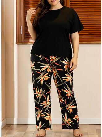 Poliester Wydrukować Kwiatowy Duży rozmiar Krótkie rękawy Zestaw do piżamy