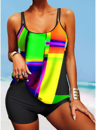 Stripe Geometric Strap U-Neck Retro Boho Tankinis Swimsuits