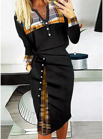 W kratę Długie rękawy Bodycon Nieformalny Midi Sukienki