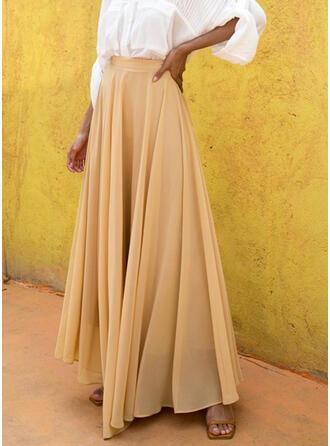 Chiffon Plain Floor Length A-Line Skirts