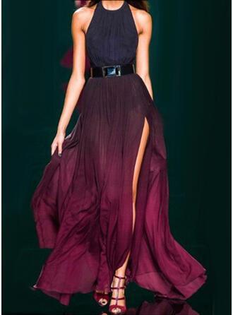 Nadrukowana Bez rękawów W kształcie litery A Przyjęcie Maxi Sukienki