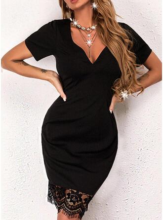 Jednolity Koronka Krótkie rękawy Bodycon Nad kolana Mała czarna/Nieformalny Sukienki