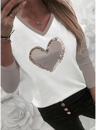 Blok Koloru Serce Nadruk cekiny Dekolt w kształcie litery V Długie rękawy T-shirty