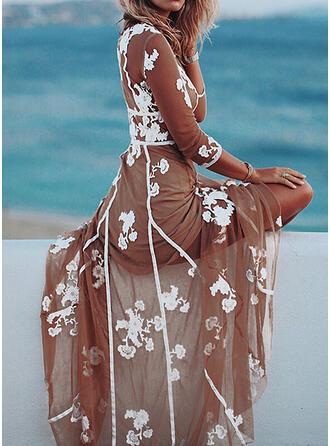 Nadrukowana/Kwiatowy Rękawy 3/4 W kształcie litery A Casual/Wakacyjna Maxi Sukienki