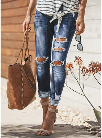 Jednolity Dżinsowa Długo Nieformalny Duży rozmiar Pocket Ripped Dżinsy