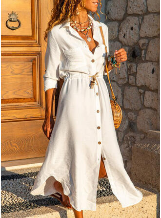 Solid Long Sleeves A-line Shirt/Skater Casual Maxi Dresses