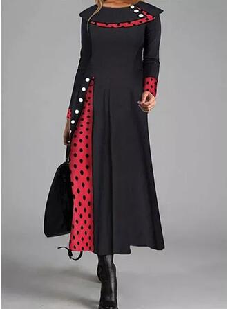 Groszki Długie rękawy W kształcie litery A Łyżwiaż Casual Midi Sukienki
